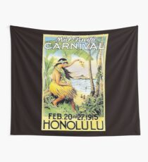 HAWAII : Vintage Honolulu Mid-Pacific Carnival Print Wall Tapestry