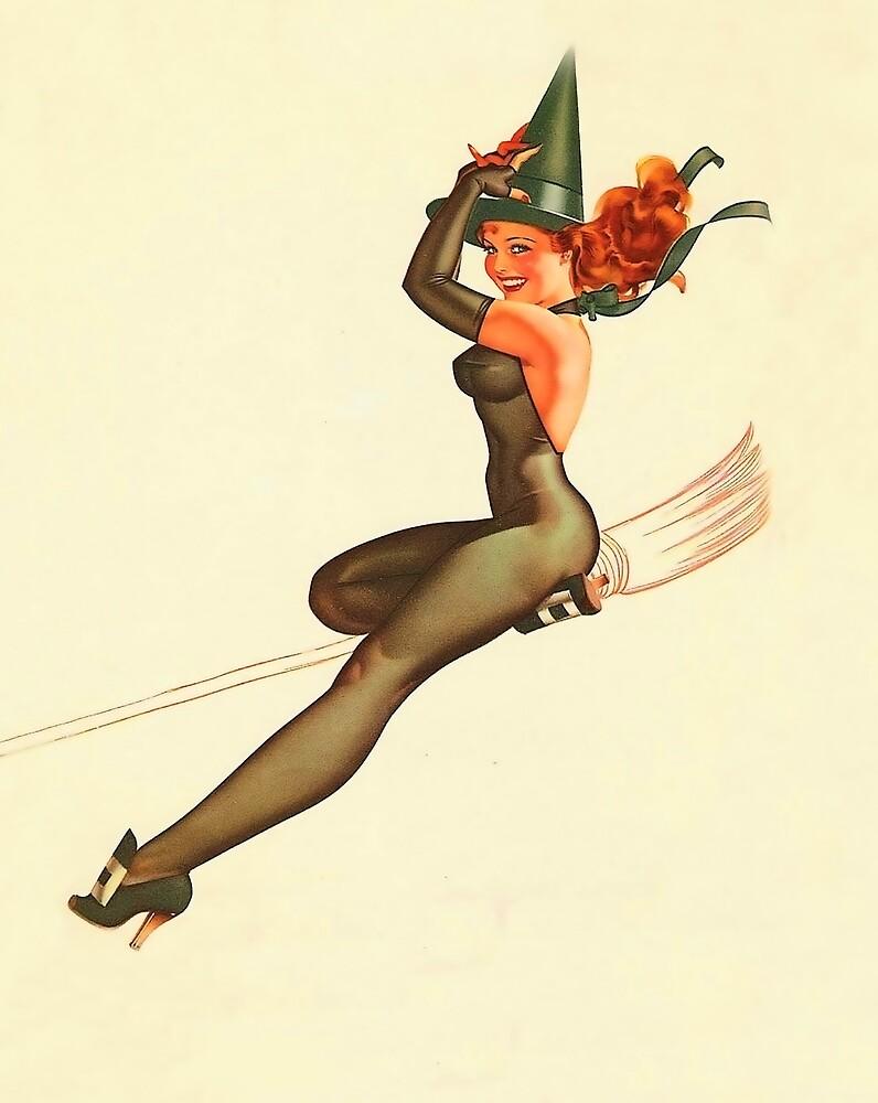 Pin up Halloween witch redhead girl on broom by AmorOmniaVincit