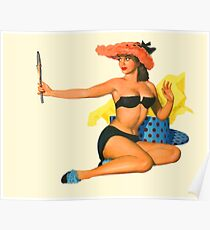 Pin up girl with funny red hat looking herself at mirror Poster