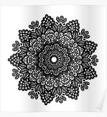 Black and white mandala  Poster