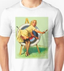 Pin up blond on target practice, vintage poster T-Shirt