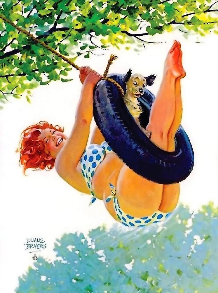 Pin up big redhead woman swing on big tire, with her dog by AmorOmniaVincit