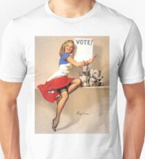 Pin up blond girl with vote sign, vintage poster T-Shirt
