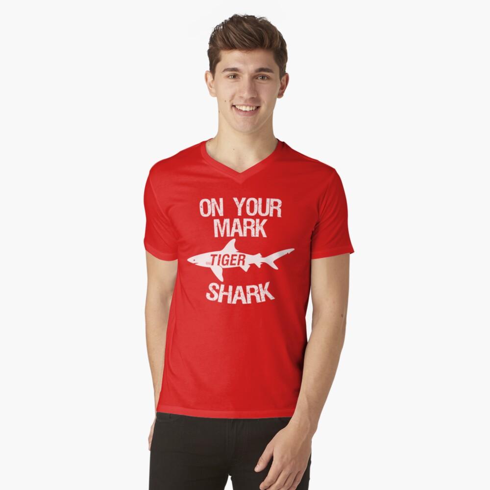 On Your Mark Tiger Shark - Barron Tshirt V-Neck T-Shirt