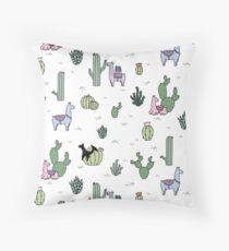 Cacti Llamas Throw Pillow