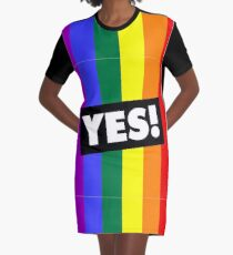 YES! to Australian Marriage Equality (Rainbow) Graphic T-Shirt Dress