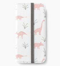 Rosa Dinosaurier iPhone Flip-Case/Hülle/Skin