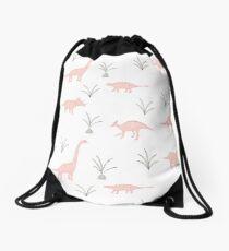 Pink Dinosaurs Drawstring Bag