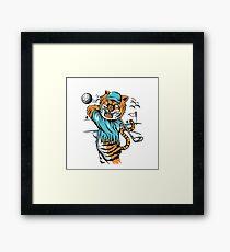 Tiger golfer WITH cap Framed Print