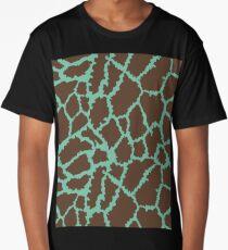 Blue Brown Leopard Skin Texture Long T-Shirt