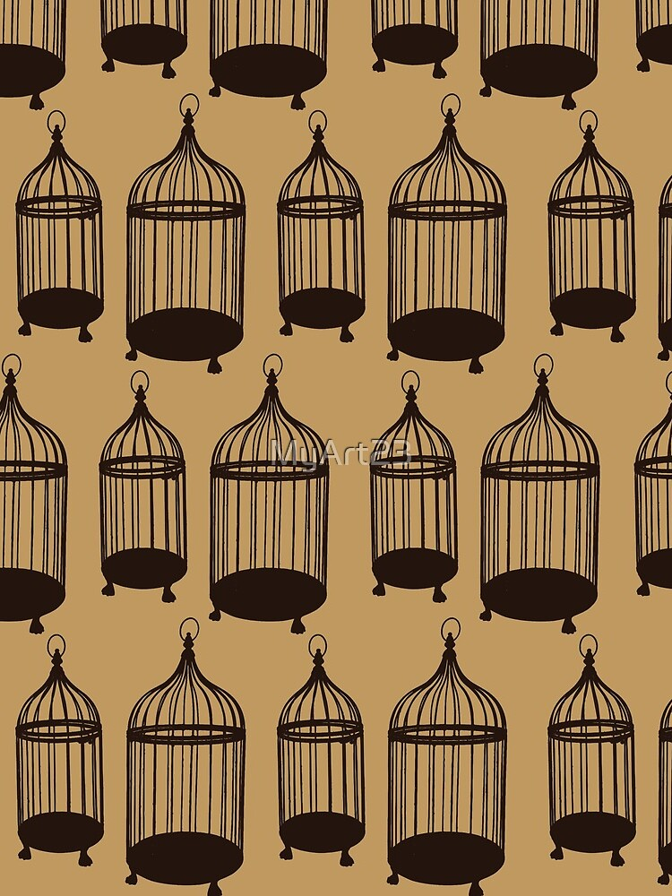 Brown Bird Cage Pattern by MyArt23