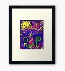 Happy Retro Hippie Mushroom Framed Print
