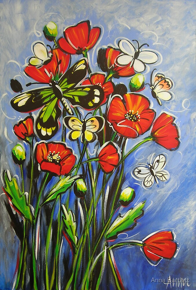 Butterflies in the Poppies by Anna Bartlett