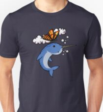 Butterfly And Narwhal Fish Funny Colorful Cartoon T-Shirt