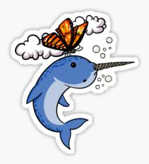 Butterfly And Narwhal Fish Funny Colorful Cartoon Sticker
