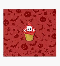 Happy Halloween Muffin Skull Photographic Print