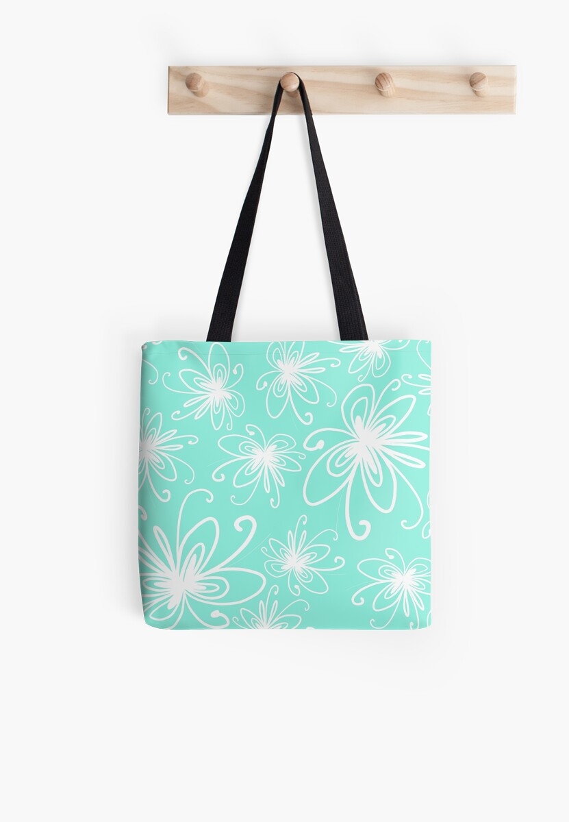 Doodle Flower in White with Blue Background by MyArt23