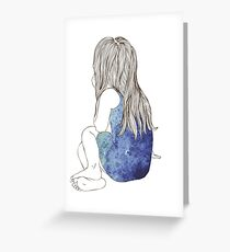 Little girl in a dress sitting back hair Greeting Card
