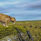 Saber Tooth Tiger and Columbian Mammoth by Walter Colvin