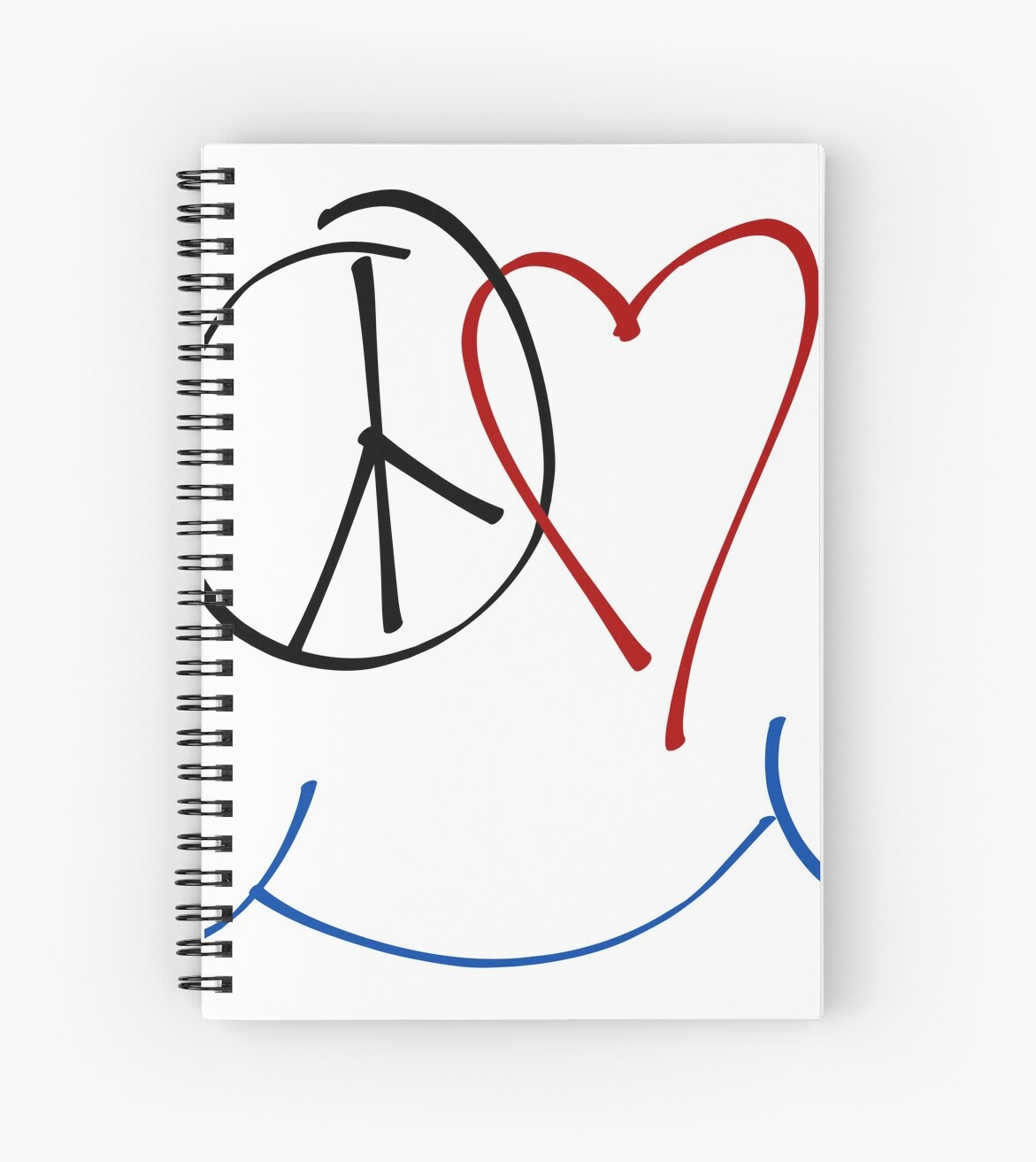 Peace Love And Happiness Symbol Spiral Notebooks By Raizepeace
