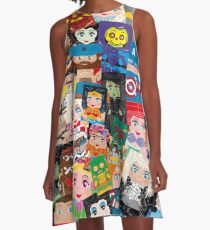 Hero Huggers Montage World of Characters A-Line Dress
