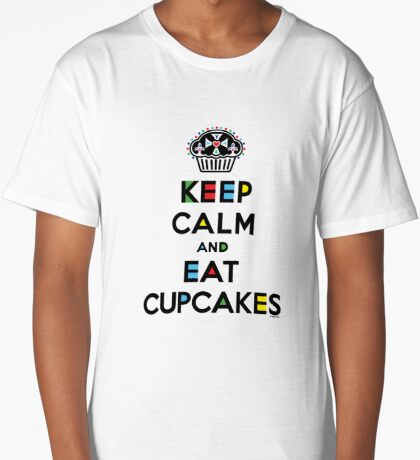 Keep Calm and Eat Cupcakes - mondrian  Long T-Shirt