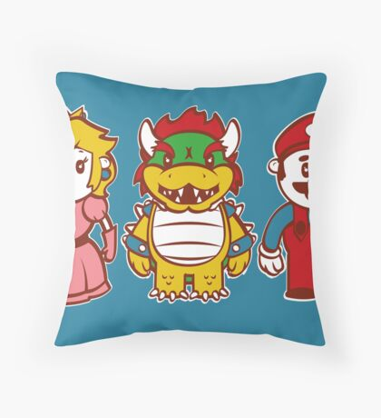 Chibi Mushroom Kingdom Throw Pillow