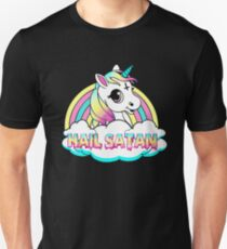 Unicorn hail satan death metal rainbown Slim Fit T-Shirt