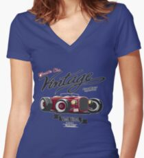 CLASSIC CAR VINTAGE  Women's Fitted V-Neck T-Shirt