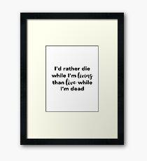 Jimmy Buffett - Die While I'm Living Framed Print