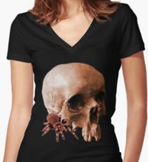 SPIDER AND SKULL Women's Fitted V-Neck T-Shirt