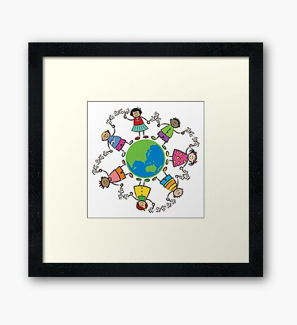 Happy Friends Around the World - ASIA and OCEANIA Framed Print