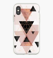 Geometric Triangles in blush and rose gold iPhone Case