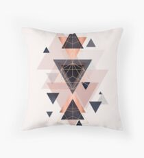 Geometric Design in Blush, Navy and Copper Throw Pillow