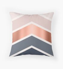 Chevrons in blush, navy and copper Throw Pillow