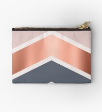 Chevrons in blush, navy and copper Studio Pouch