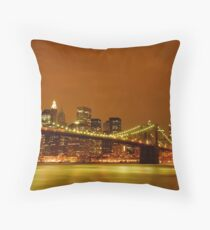Fiery Sky over New York City Throw Pillow