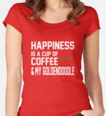 Happiness is Coffee & Goldendoodle Cute Women's Fitted Scoop T-Shirt