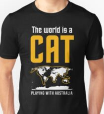 This World is Cat Playing With Australia Funny T shirts Cat Lovers T-Shirt