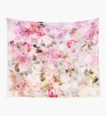Vintage pink pastel watercolor floral pattern Wall Tapestry