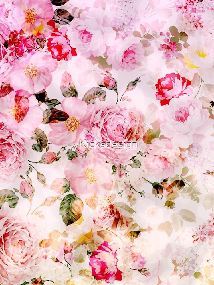 Patrón de acuarela en colores pastel rosa vintage de Kicksdesign