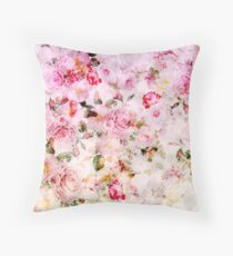 Vintage pink pastel watercolor floral pattern Throw Pillow