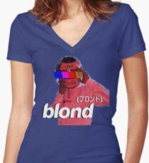 Frank Ocean Blond Helmet Logo Women's Fitted V-Neck T-Shirt