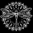 Libellen-Mandala - weißer Druck von georgiamason