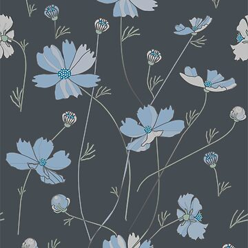 Cosmos flowers in blue by Nata-V