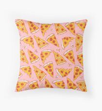 pizza night pink throw pillow