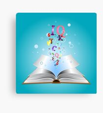 Opened book with letters 2 Canvas Print