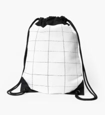 Black and white check, square, plaid pattern Drawstring Bag