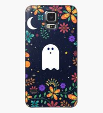 Spoopy Cute Ghost. Halloween Decor. Cute Ghost Dia De Los Muertos. Orange All Hallows Eve Floral Illustration. Case/Skin for Samsung Galaxy