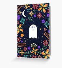 Spoopy Cute Ghost. Halloween Decor. Cute Ghost Dia De Los Muertos. Orange All Hallows Eve Floral Illustration. Greeting Card